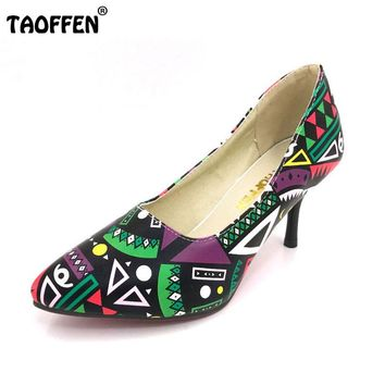 TAOFFEN Size 32-45 Women Pumps 2016 Hot Leather Sexy Pointed Toe Ladies High Heel Shoes Wedding Court Floral Shoes Footwear