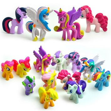 12 pcs/set  of 3-5cm cute PVC horse action toy figures, Toy doll earth ponies, Unicorn, Pegasus, Ali-corn, Bat ponies, Figure Dolls For Girls