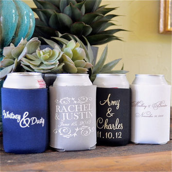 100 Personalized Wedding Koozies - Foam or Neoprene with a Rush