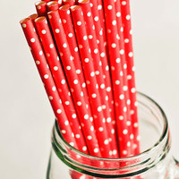 Paper Straws - Red & White Polka Dots (Set of 25) Valentine's Cute Fun Unique Pretty Wedding Birthday Party Shower Accessories Decor
