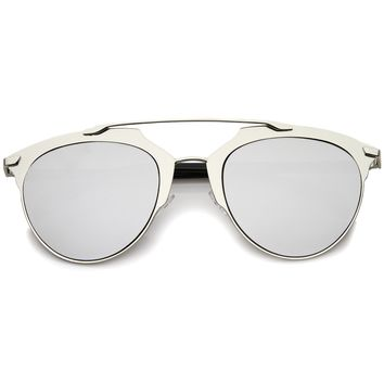 Modern Fashion Metallic Frame Color Mirrored Lens Pantos Aviator Sunglasses