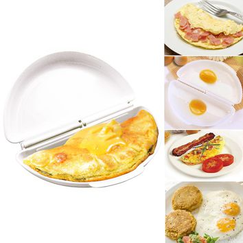 1Pc Portable Two Eggs Microwave Omelet Cooker Pan Eggs Steamer Pancake Maker Egg Mold Cooking Tools Kitchen Gadgets