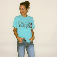 Vintage Florida T-Shirt // xs small // Tampa // Teal Blue Vintage Tee Super Soft with Tropical Beach Scenes // sunrise sunset ocean