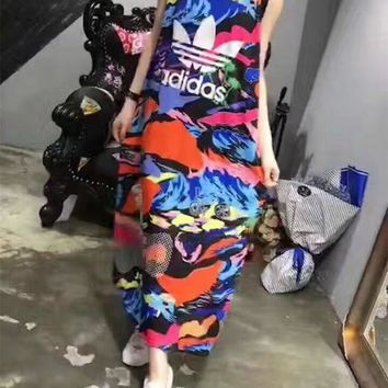 ONETOW Adidas' Fashion Casual Letter Multicolor Print Sleeveless Vest Maxi Dress
