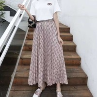 """""""Gucci"""" Woman's Leisure  Fashion Letter Printing Short Sleeve Long Skirt  Two-Piece Set Casual Wear"""
