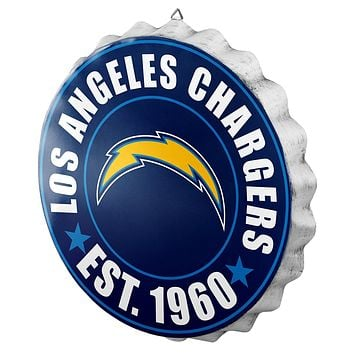 Los Angeles Chargers Man Cave Bottlecap Wall Sign