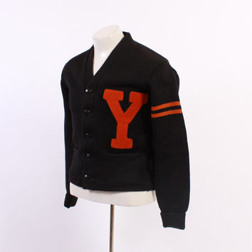 1940s Men's Wool VARSITY CARDIGAN / Vintage 40s Orange & Black Wool Letterman Sweater S - M