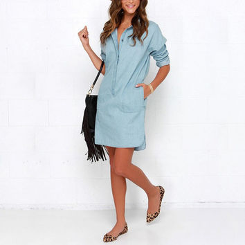 Hot Sales Women Washed Denim Jean Dress Loose Casual Long Sleeve Shirt Dress Autumn