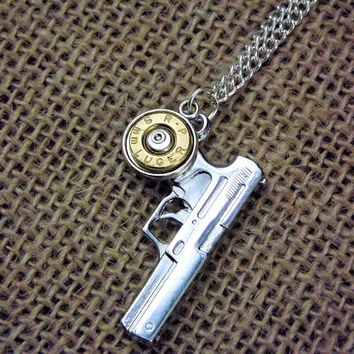 9mm pistol necklace- bullet jewelry, unisex gun necklace, country wedding gift, brass bullet casing,redneck style, military police gift