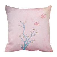 Birds Flying Above Tree Vintage Style Grunge Pink Throw Pillow