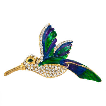 Hummingbird Painted Gold Bar Pin