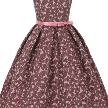Mauve Floral Jacquard Design on Rose Sleeveless Dress w Ribbon Sash (Girls Sizes 2T - 12)