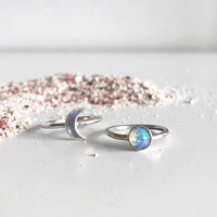 Opal ring,sterling silver ring,stacking rings,rings set,moon ring,dainty ring,boho ring,midi ring,wicca ring,crescent ring,fire opal ring