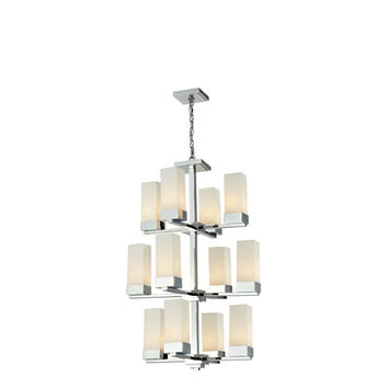 Z-Lite 190-12 Sapphire Twelve Light Chrome Chandelier with Rectangular Matte Opal Glass Shades