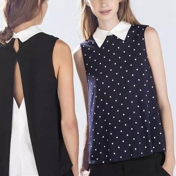 Block Dotted Cutout Back Sleeveless Collared Blouse