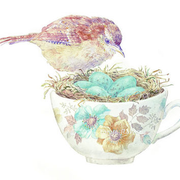 Bird and teacup archival fine art print 8 x 10 inches    nursery decor bird nest watercolor painting