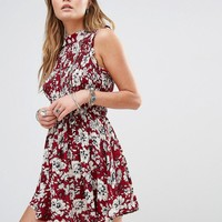 Kiss The Sky High Neck Dress In Floral Print
