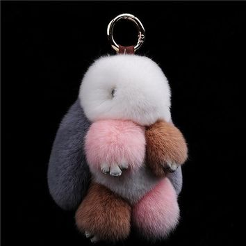 VONEZ9R Fur bunny keychain Pendant Rex Rabbit's Hair Bag Automobile Key holder ring chain Jewelry Exceed Adorable Rabbit keychain