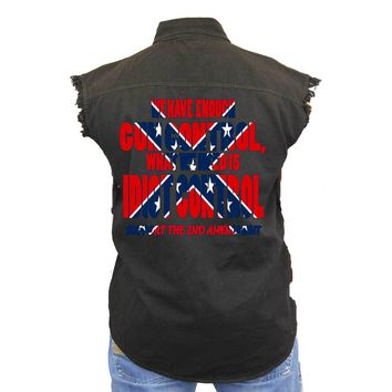 Men's Confederate Rebel Flag Sleeveless Denim Vest What We Need Is Idiot Control Biker Shirt