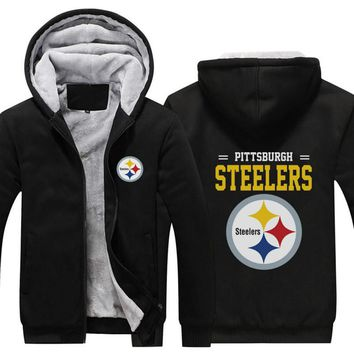 Hot Sale Mens Thicken Hoodie Pittsburgh Steelers Fan Warm Sweatshirt Coat Zipper Jacket hoodie