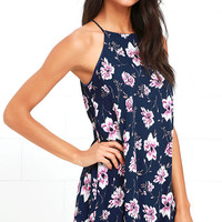 Coming Up Posies Navy Blue Floral Print Swing Dress