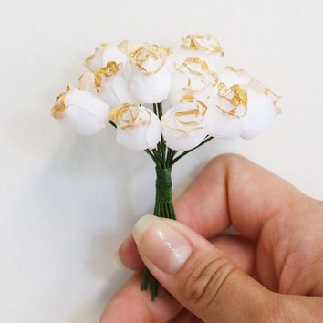 "Pack of 15 Mini Gold-Dipped White Silk Rose Buds - 3.5"" Tall"