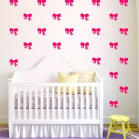 Set of 40 Girl Bows Pattern Decal Sticker Wall Vinyl Art Home Decor Cute Girly Daughter Baby