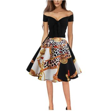 Summer Party Fashion Dress Women Vintage Leopard Shoulder Printing Evening Party Prom Swing Dresses Women Clothes 2019