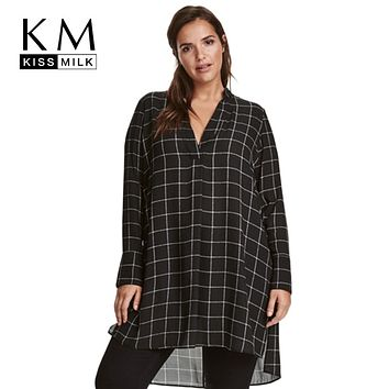 Kissmilk Big Size New Fashion Women Clothing Casual Basic Dress V-Neck Long Sleeve Shirt Dress Plus Size Dress 4XL 5XL 6XL 7XL