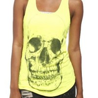 Neon Yellow Skull Girls Tank Top Plus Size