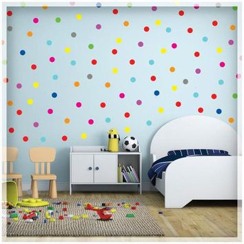 "Polka Dot Wall Decal - polka dot decor - Rainbow Polka Dot stickers - 120 pcs. 1"" - Nursery wall decal - Polka Wall Stickers"