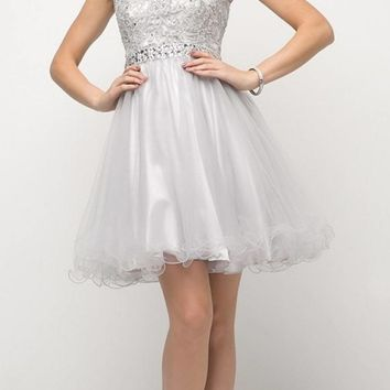 Silver Cap Sleeved Homecoming Short Dress with Appliqued Bodice
