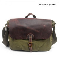 Leather flap canvas mail bags | messenger satchel bag for men