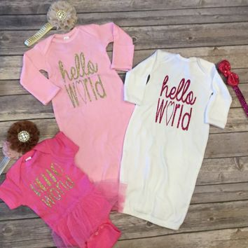 Hello World White with Pink Glitter Onesuit/Gown