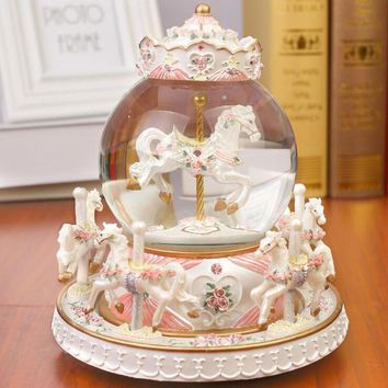 Crystal Ball Carousel Resin Music Box Snowflakes Valentine's Day Gift