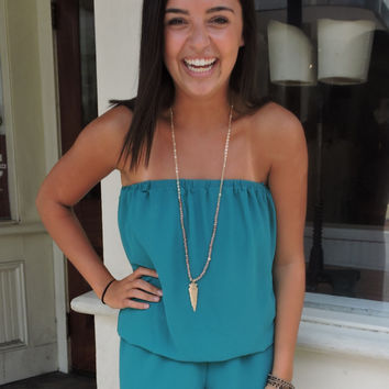 Teal Detachable Strap Romper