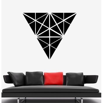 Wall Decal Triangles Pattern Geometric Shape Illusion Vinyl Sticker (ed1346)