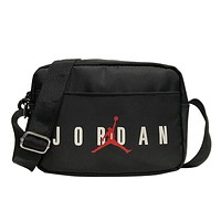 AIR JORDAN 2019 new simple printed shoulder slung portable zipper small square bag Black