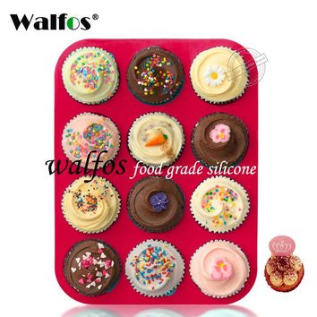 Walfos 100% food grade 12 Cup Silicone Muffin pan &Cupcake Baking Pan Non-Stick silicone cake mold round Mini Muffin Pan form