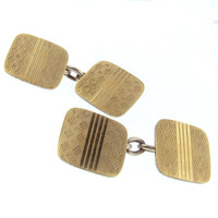 1930's Cufflinks in 9K Gold & Silver by Henry Griffith & Sons