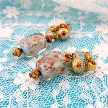 Crown Trifari Art Glass Dangle Earrings Baby Blue And Gold Marble Motif Gold Tone Clip Trim Vintage Collectible Gift Item 1440