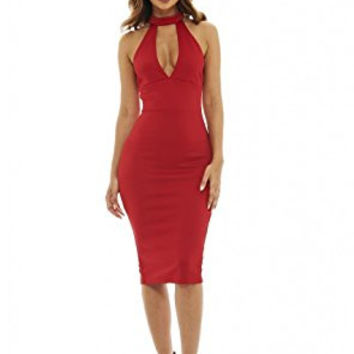 Red Racer Back Cut Out Neck Midi Dress