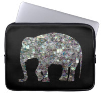 Customize Sparkly colourful silver mosaic Elephant Computer Sleeves
