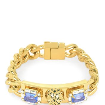 Gold Luxe Leopard Id Bracelet by Juicy Couture, No