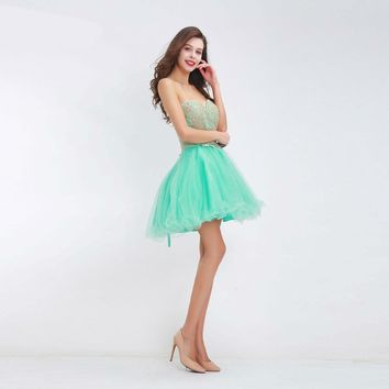 Lovely Homecoming Dresses Sweetheart Mint Green Tulle Appliques Cocktail Gown Short A Line graduation Prom Party Dresses