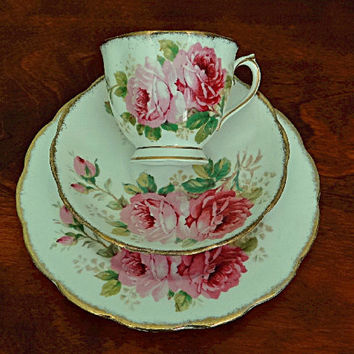 Royal Albert American Beauty Tea Cup Trio English Bone China
