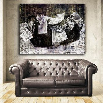 Secure The Money Bag Motivational Framed Canvas Wall Art