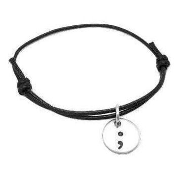 Adjustable Leather Cord Semicolon Bracelet