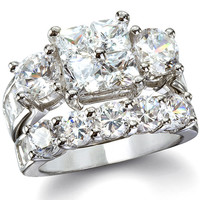 CZ Wedding Ring Set - Josephine's Intricate Princess & Round