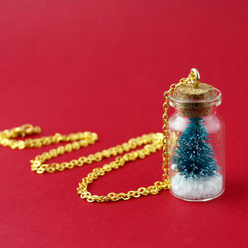 Christmas Tree Necklace - Christmas Tree in a Bottle Necklace - Faux Snow Globe Necklace with Gold Chain - Layering Necklace